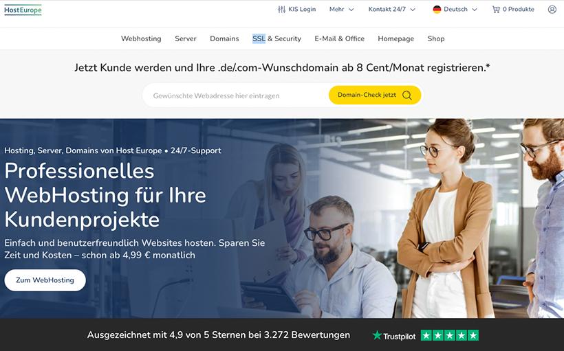 Host Europe Startseite