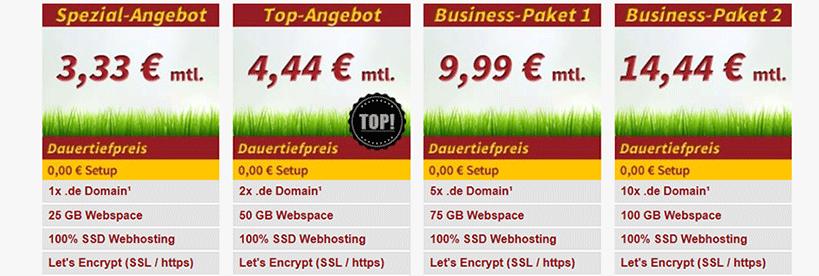 Webspace-Verkauf.de Pakete