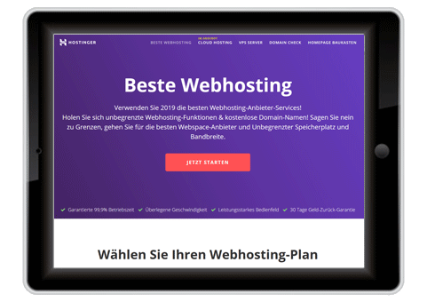 kostenloses Webhosting Hostinger