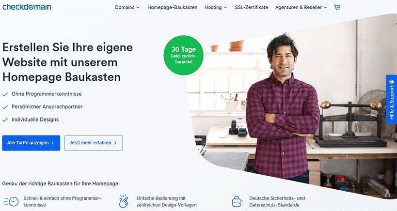Checkdomain Homepage Baukasten