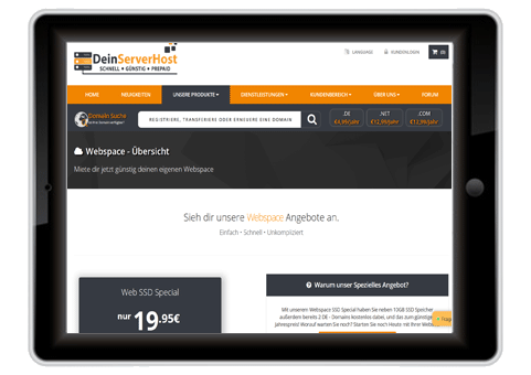 Webspace ohne Domain mieten